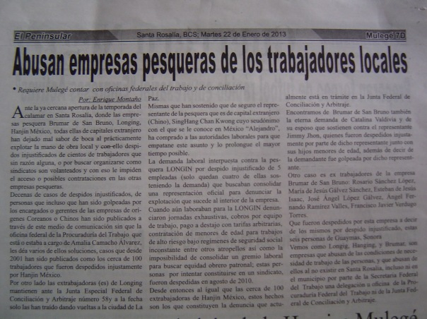 NOTA PERIODISTICA CALAMARERAS